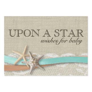 Desejos da estrela do mar e da fita para cartões cartão de visita grande