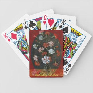 Desejos do aniversário - cravos com montagem oval baralhos de poker