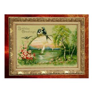 Desejos do aniversário da andorinha cartão postal