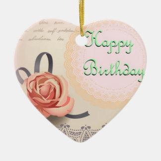 Desejos do aniversário do ornamento do coração