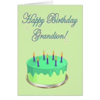Desejos do bolo de aniversário do neto do feliz cartão comemorativo