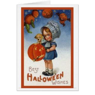 Desejos do Dia das Bruxas do cartão do vintage os