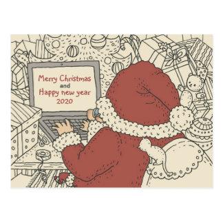 Desejos do feriado da escrita do papai noel no cartão postal