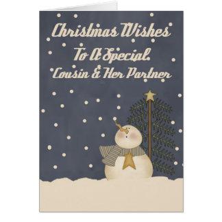 Desejos do Natal a um primo & a um sócio especiais Cartão Comemorativo