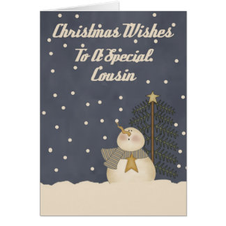 Desejos do Natal a um primo especial Cartão Comemorativo