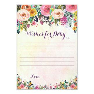 Desejos florais para cartões do conselho do bebê