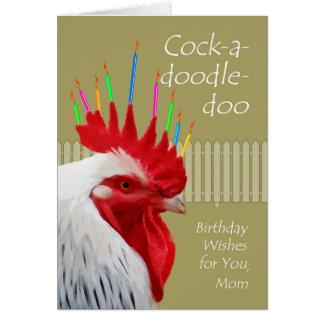 Desejos para a mamã, Galo-um-doodle-doo do galo do Cartão Comemorativo