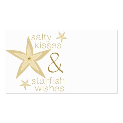 Desejos salgados da estrela do mar dos beijos modelo cartao de visita