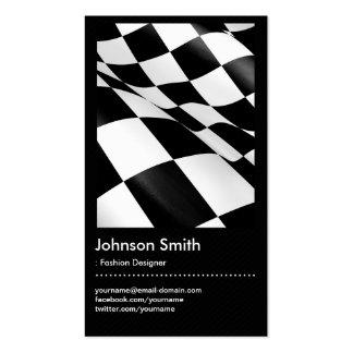 Desenhador de moda - bandeira Checkered branca Cartão De Visita