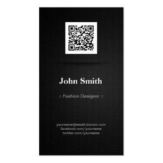 Desenhador de moda - código elegante do preto QR Cartão De Visita