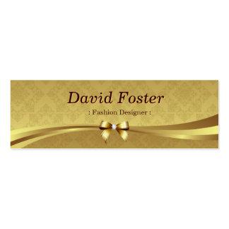 Desenhador de moda - damasco brilhante do ouro cartão de visita skinny