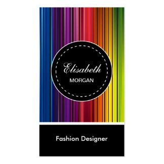Desenhador de moda - listras coloridas modernas cartão de visita