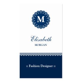Desenhador de moda - monograma azul elegante do cartão de visita