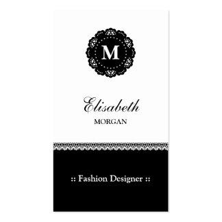 Desenhador de moda - monograma preto elegante do cartão de visita