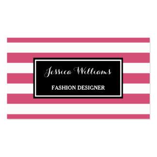Desenhador de moda na moda das listras do rosa cartão de visita