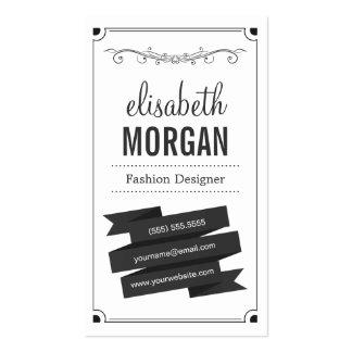 Desenhador de moda - preto e branco retro cartão de visita