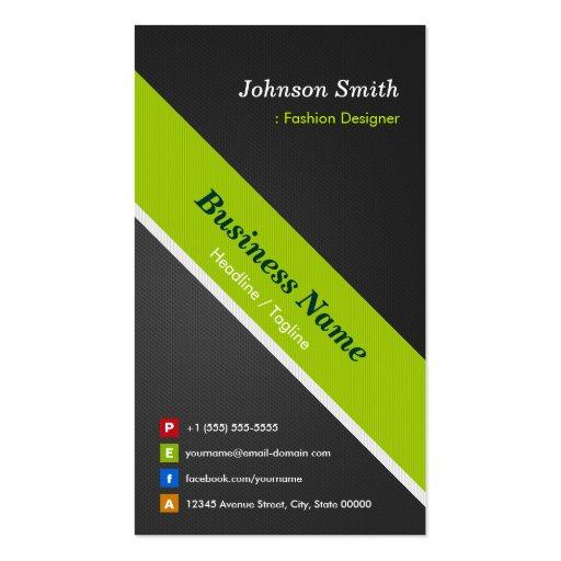 Desenhador de moda - preto e verde superiores cartao de visita
