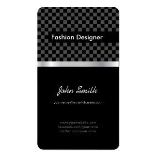 Desenhador de moda - tabuleiro de xadrez preto ele modelos cartoes de visita