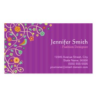 Desenhador de moda - tema roxo da natureza cartão de visita