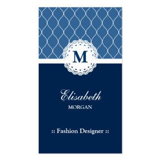 Desenhador de moda - teste padrão azul elegante do cartão de visita