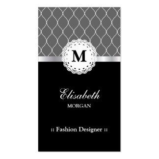 Desenhador de moda - teste padrão preto elegante cartão de visita