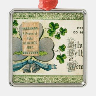 Desenhar irlandês do vintage original do Dia de Ornamento Quadrado Cor Prata