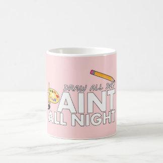 Desenhar o dia inteiro, da pintura rosa toda a caneca