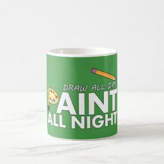 Desenhar o dia inteiro, da pintura verde toda a caneca
