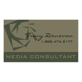 Desenhista na moda musgo do consultante de meios cartão de visita