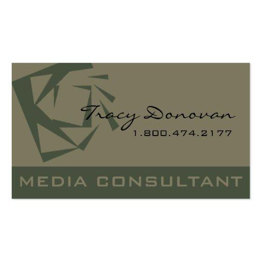 Desenhista na moda musgo do consultante de meios d cartao de visita