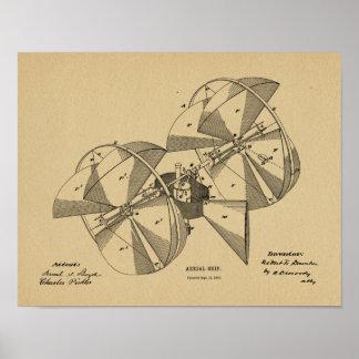 Desenho 1882 da arte da patente do avião da pôster