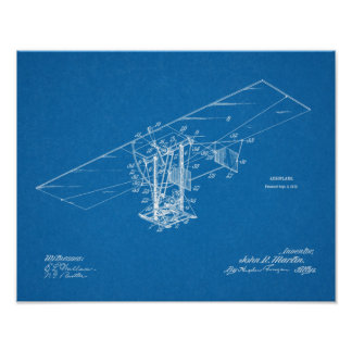 Desenho 1912 da arte da patente do avião da pôster