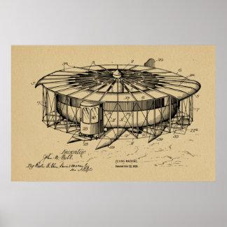Desenho 1920 da arte da patente do avião da pôster
