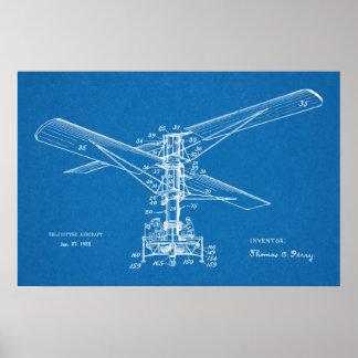 Desenho 1925 da arte da patente da máquina de vôo pôster