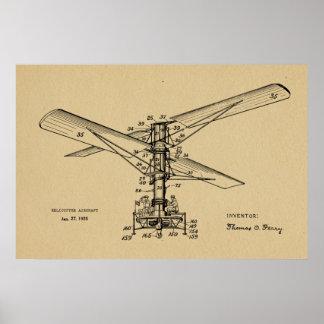 Desenho 1925 da patente do vintage dos aviões do pôster