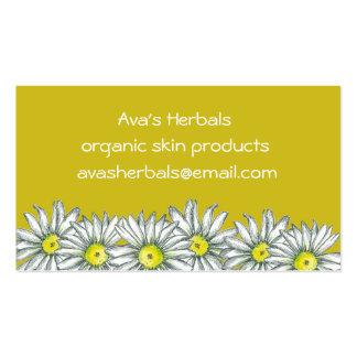 Desenho amarelo da flor da margarida branca da cartão de visita