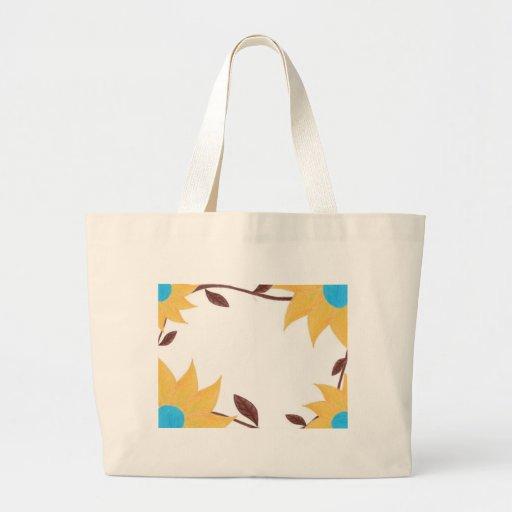 Desenho amarelo e azul da flor bolsas