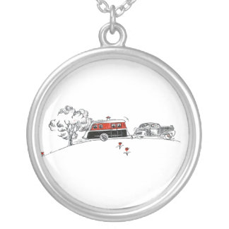 Desenho antigo do campista e do carro do rv colares