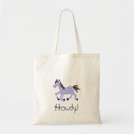 Desenho azul do cavalo bolsa