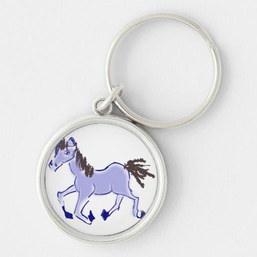Desenho azul do cavalo chaveiro