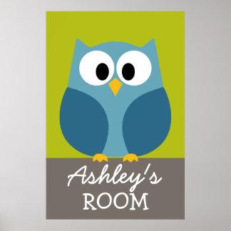 Desenho bonito da coruja para a sala dos miúdos poster