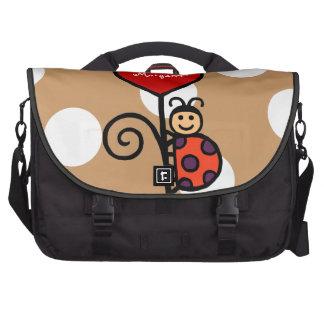 Desenho bonito personalizado do joaninha maletas para notebooks
