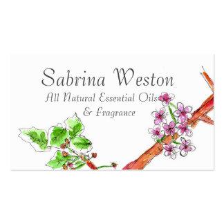Desenho botânico da flor de cerejeira cartão de visita