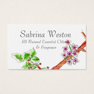 Desenho botânico da flor de cerejeira cartão de visitas