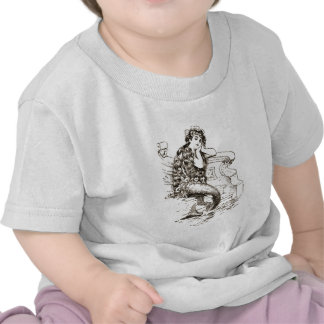 Desenho branco preto da sereia do vintage camiseta