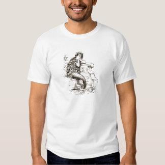 Desenho branco preto da sereia do vintage tshirts