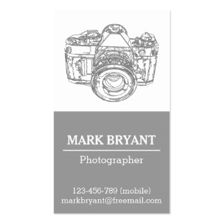 Desenho cinzento da câmera, fotógrafo cartão de visita