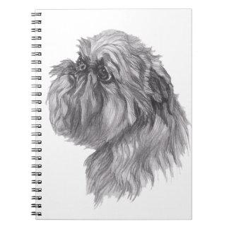 Desenho clássico do perfil do cão de Bruxelas Cadernos Espiral