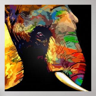 Desenho colorido do retrato da cabeça do elefante pôster