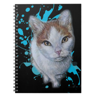 Desenho da arte do gato com o caderno azul da